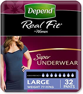 Depend Adult Care Real Fit Incontinence Underwear for Women, Super Absorbency, Large (Pack of 32)