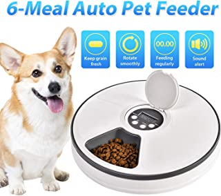 Automatic Pet Feeder Food Water Automatic Dispenser for Dogs Cats Small Animals with Programmable Digital Timer and Music 6 Meal Portion Control FDA Approved