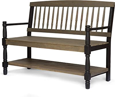 Christopher Knight Home 305337 Daphne Outdoor Acacia Wood Bench with Shelf, Gray and Black Finish