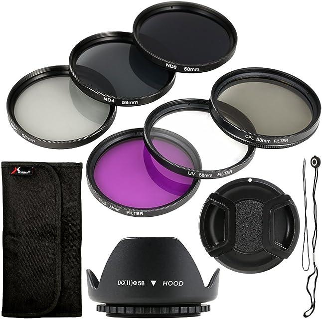 Pack de seis unidades de filtro y parasol UV CPL ND + soporte de 58mm para Canon EOS Canon EOS Rebel XSi T4i T3i 70D 60D 700D 650D 1100D 1000D 600D 50D 550D 1DX 5D Mark 5D2 5D3 6 Rebel XSi T4i T3i LF134
