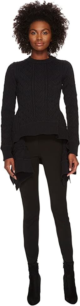 Sonia Rykiel - Runway Fancy Stitched Hi Lo Sweater