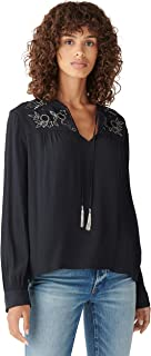 Lucky Brand Women's Long Sleeve Notch Neck Embroidered Peasant Top