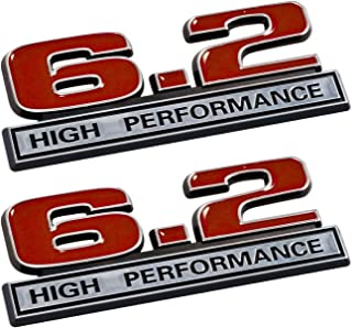 6.2 Liter High Performance Emblems in Red and Chrome - Pair