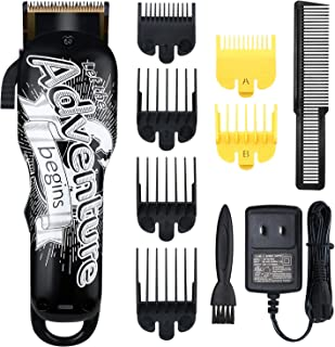 Professional Cordless Hair Clippers Electric Hair Cutter Machine Kit Rechargeable Wireless Hair Grooming Trimmers Set with 6 Guide Combs for Men Kids Babies Family Home