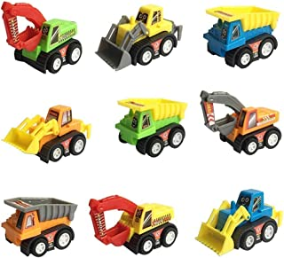Zviku Mini Push Pull Construction Trucks Toy Set - Includes Pack of 9 Play Vehicle Construction Excavator Dump Truck Play set - Great for Children & Toddler Kids Birthday Gift Party Favor -Colors Vary