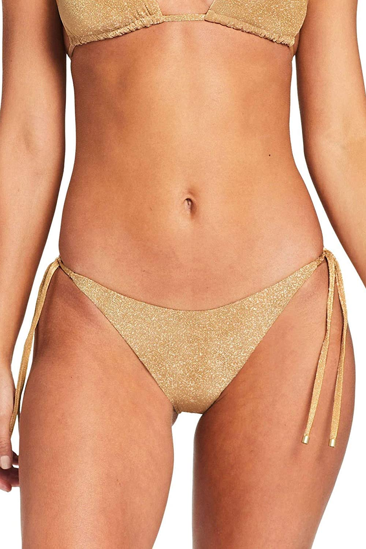 Vitamin A Women's Golden Glow Metallic Elle Tie Side Hipster Bikini Bottom