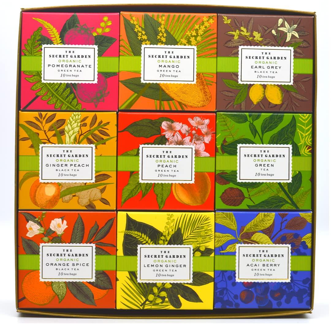The Secret Garden Organic Tea Collection Green & Black Tea Sampler Pack - 9 Flavors - 90 Count