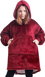 Manta Tipo Sudadera con Capucha, Invierno Cálido Suave Forro Polar Sherpa de Gran tamaño Manta de TV Camisón Pijamas para Chico Niña