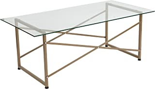 Flash Furniture Mar Vista Collection Glass Coffee Table with Matte Gold Frame