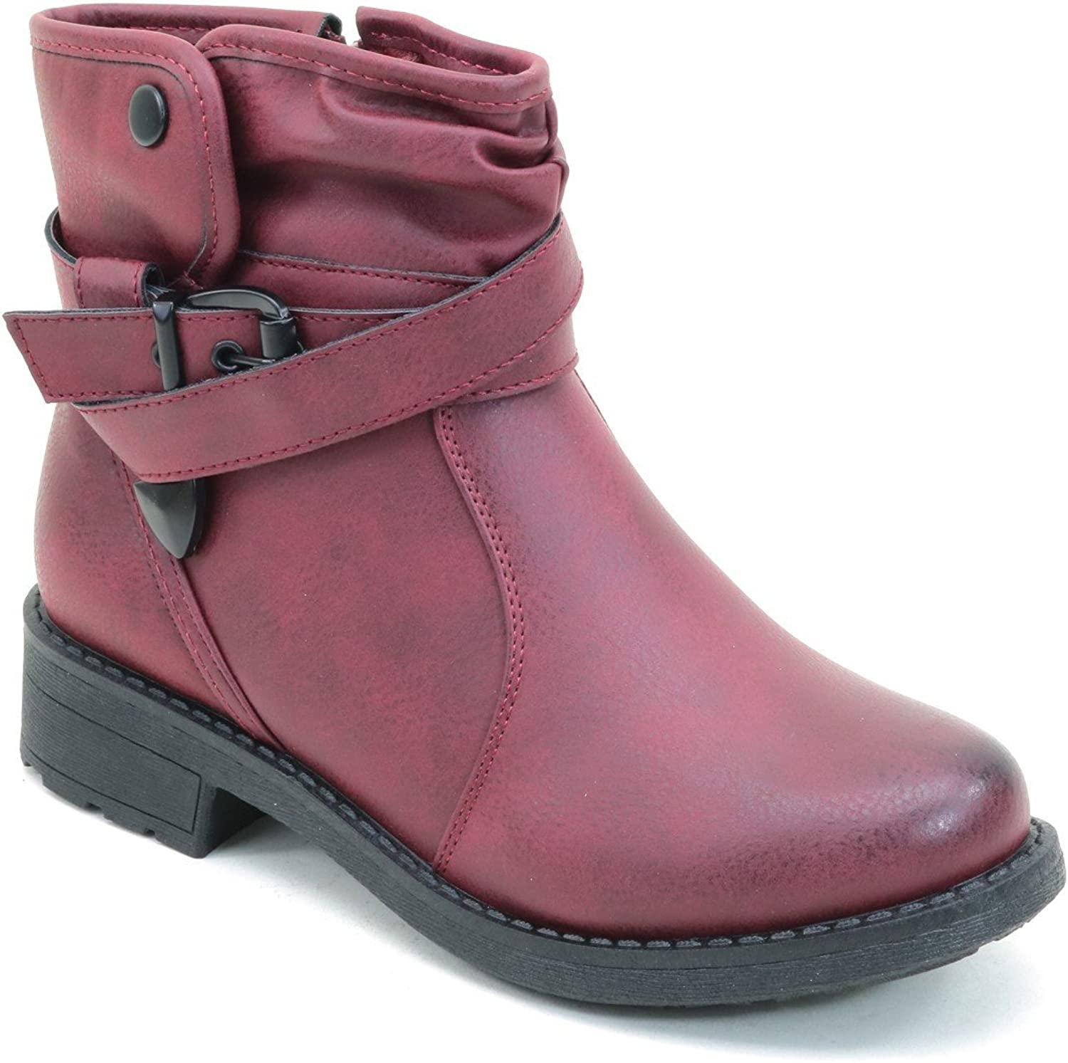 Distressed Buckle Flat Ankle Casual Women's Vegan Boots