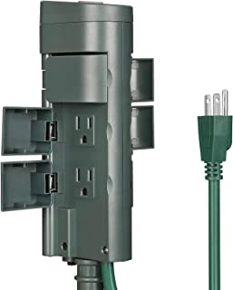DEWENWILS Smart Outdoor Power Strip Weatherproof, WiFi 6 Outlet Yard Stake Timer Switch for Lights, 6 FT Extension Cord, Compatible with Alexa, Google Assistant and IFTTT, FCC and ETL Certified