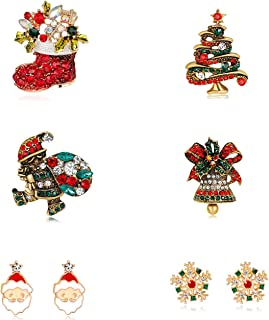 Vintage Diamond-Bordered Christmas Rhinestone Brooch Pins and Enamel Earring Jewelry-Cute Christmas Tree,Santa Claus,Jingle Bells, Christmas Outfit Collection and Snowfake Pins Set
