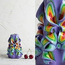 Candela - Intagliata a Mano Viola e Arcobaleno - Idee Regalo Per la Festa Della Mamma - Decorazione da Casa - EveCandles