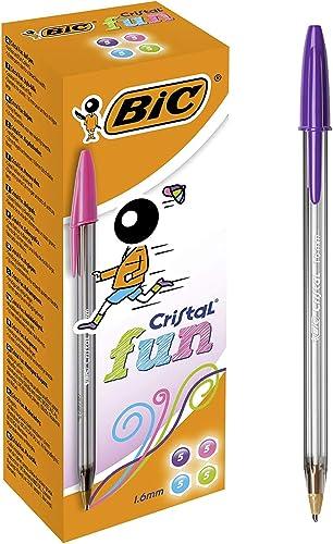 BIC Cristal Fun - Bolígrafos de punta ancha (1.6 mm), caja de 20 unidades, colores surtidos
