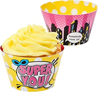 Birthday Express Superhero Girl Party Supplies - Reversible Cupcake Wrappers (12)