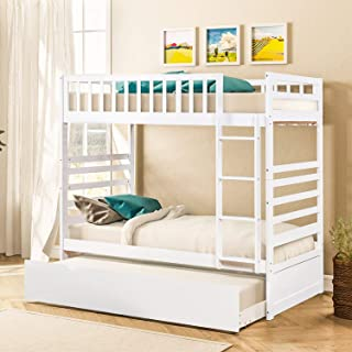 Bunk Beds for Kids, Over Twin Bed with Trundle, Wooden Twin Bed with Drawer and Safety Rail Ladder, Teens Bedroom Bed, Guest Room Furniture (White)