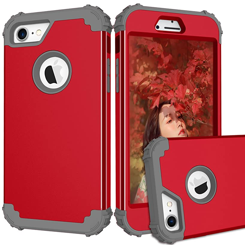 iPhone 7 & iPhone 8 case, Ankoe [Heavy Duty] Hard PC Soft Silicone Combo Hybrid Impact Defender Full-Body Protective Anti-Scratch Case for Apple iPhone 7 (2016) / iPhone 8 (2017) (Red+Gray)