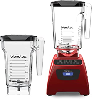 Blendtec Classic 575 Blender - WildSide+ Jar (90oz) and FourSide Jar (75 oz) BUNDLE - Professional-Grade Power - Self-Cleaning - 4 Pre-programmed Cycles - 5-Speeds - Poppy Red