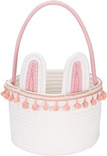 Sea Team Paniers de rangement avec corde en coton motif lapin de Pâques avec poignée Décoration pour la maison, les enfant...