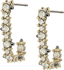 Alexis Bittar Crystal Encrusted Mini Link Huggie Earrings