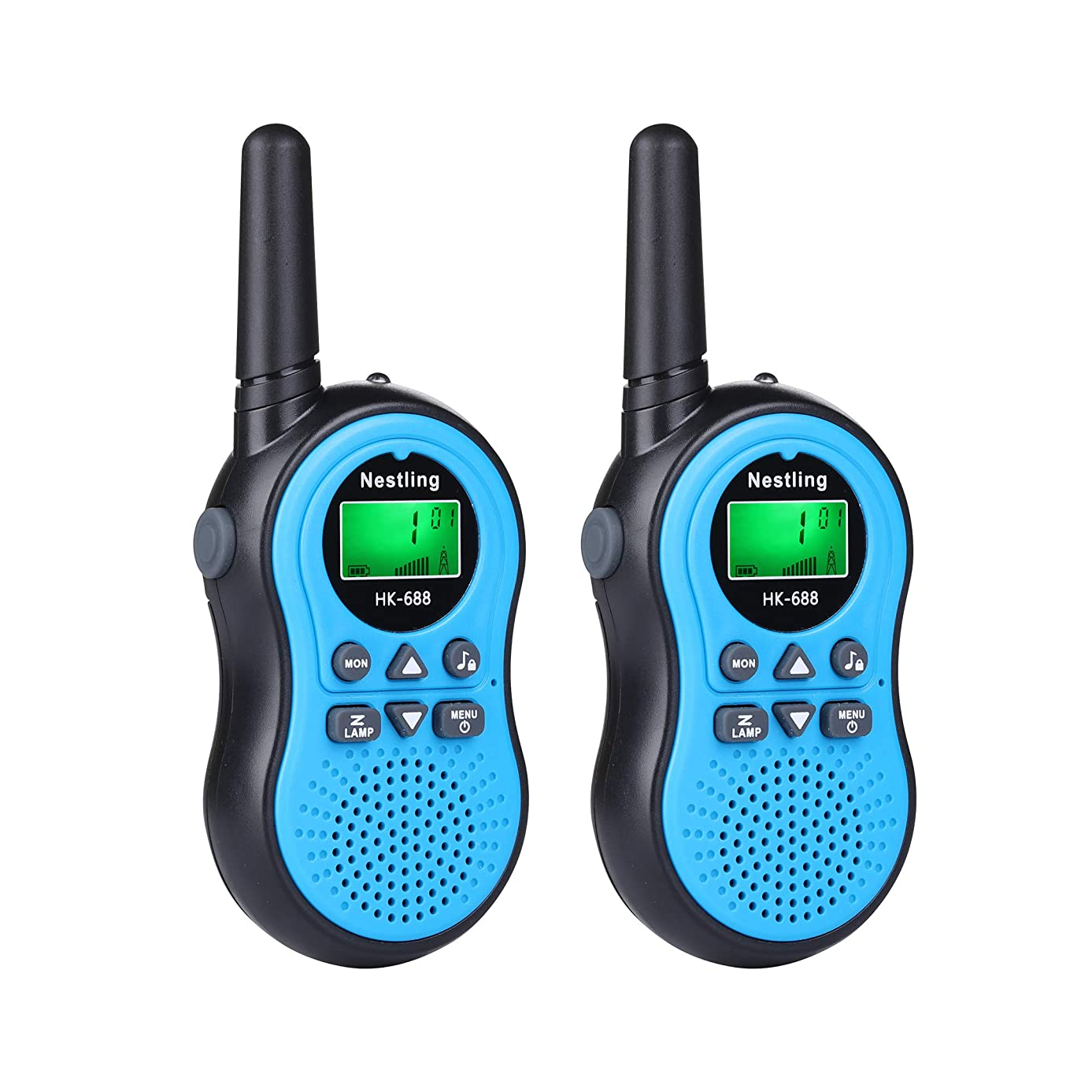 BYBOO Nestling HK-688 Mini Walkie Talkies for Kids 22 Channel 2 Way Radio, Walky Talky Toys for Kids Age 3 4 5 6 7 8 9 10 11 12 Year Old Boys Girls Toddlers (1 Pair, Blue)