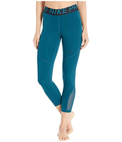 Nike Pro Crop Tights (Midnight Turquoise/Black/Black) Women