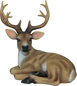 ReefoneArt Paperweight Figurine Festive Deer Animal Sculpture Home Decor or Outdoor Garden Statue - 5X 5 x 3.6 Inches