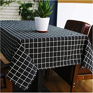 Black and White Linen Tablecloth Rectangular Kitchen Table Living Room Coffee Table Home Decorations,Black,100140Cm
