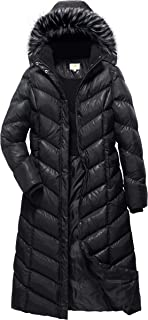 Women's Maxi Puffer Full Length Coat with Fur Trim Removable Hood