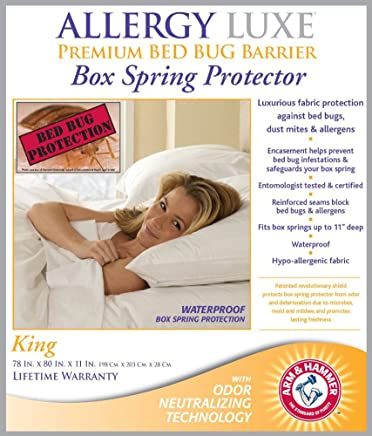 Allergy Luxe Arm & Hammer Antimicrobial Bed Bug Proof Barrier Zipper Box Spring Cover,  Dust Mite Insect & Waterproof Encasement Hypoallergenic Protector - King Size 78 x 80 in.
