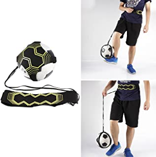 Dyna-Living Hands Free Soccer Jungle Trainer w/Practice Belt Elastic Rope for Ball Size 3 4 5 Black