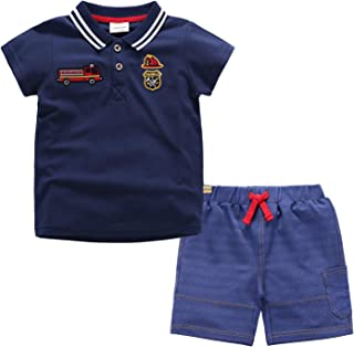 CHAOSHUO Toddler Boys Shorts Set Cotton Tee and Shorts Short Sleeve Outfits
