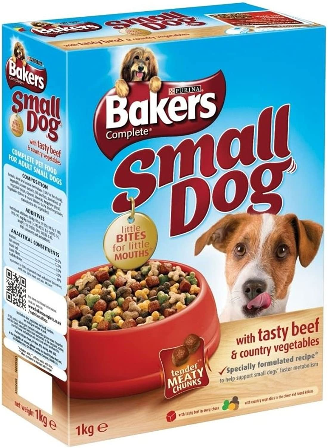 Bakers Complete Small Dog with Tasty Beef & Vegetable Medley (1Kg)  Pack of 2