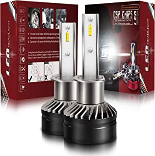 LED Headlight Conversion Kit H1 - TURBOSII Premium Head Light Bulbs 300% Brighter than Halogen - 2 Yr Replacement Warranty (Adjustable Beam, 6K Cool White,Pair)