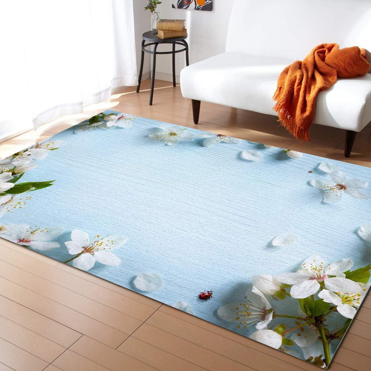 Olivefox Jacksonville Mall 2x3 Feet Floor Mat Area Blue Rug Ranking TOP13 White Flowers on Wood