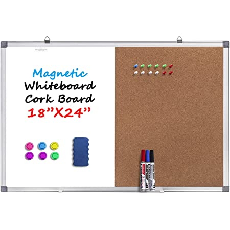 Amazon Com Magnetic Whiteboard And Cork Board Combination Board Dry Erase Board Bulletin Combo Board For Home Office Wall Mounted Message Memo Board With Markers Eraser Magnets Push Pins 18 X 24