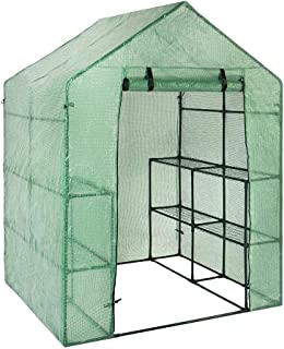 skyning Greenhouse for Outdoors with Observation Windows, Large PVC Garden Walk-in Greenhouse Plant Cover 3 Tiers 12 Shelves Stands Green House