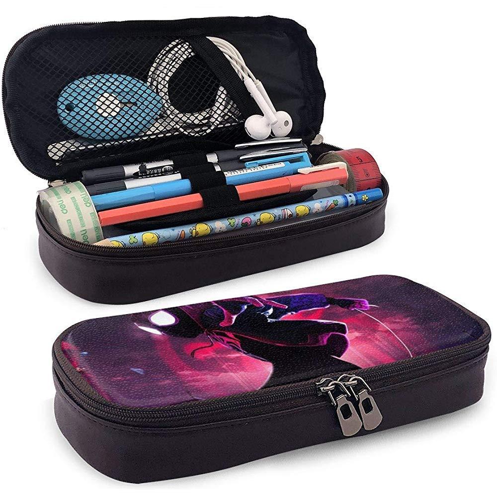 Estuche de lápices Miles Morales, Bolso de bolígrafo impreso en 3D de cuero personalizado Estuche de lápices con cremallera: Amazon.es: Oficina y papelería