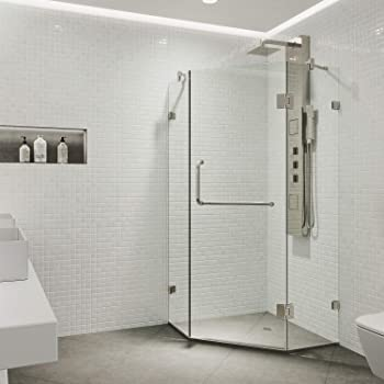 """VIGO VG6062BNCL36 Piedmont 36"""" x 36"""" inch Clear Glass Corner Frameless Neo-Angle Shower Enclosure, Hinged Shower Door with Magnalock Technology, 304 Stainless-Steel Shower Hardware in Brushed Nickel Finish"""