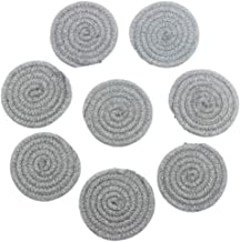 KEPSWET 4.3 Round Dark Gray Cotton Table Drink Coaster Set 8-Piece, Creative Solid Color Absorbent Placemat, Rope Weave Design, Set of 8