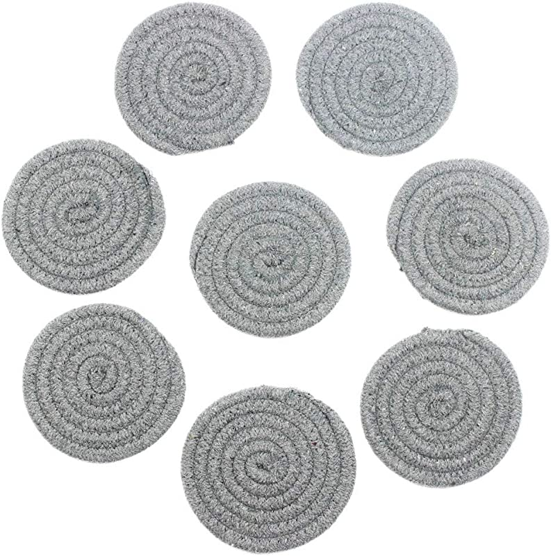KEPSWET 4 3 Round Dark Gray Cotton Table Drink Coaster Set 8 Piece Creative Solid Color Absorbent Placemat Rope Weave Design Set Of 8
