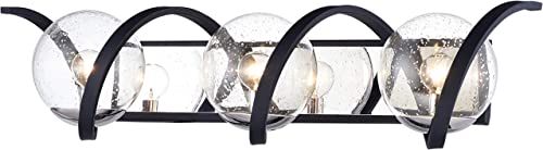 "lowest Maxim 35106CDBKPN Curlicue Unique Seedy Glass Ball Bath Vanity Wall Mount, 2021 3-Light 120 Total Watts, 7""H x 30""W, lowest Black/Polished Nickel sale"