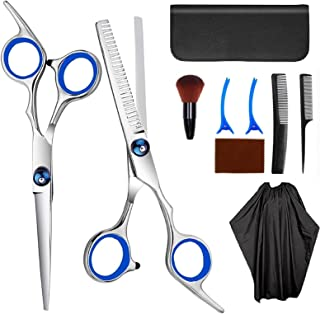 Hair Cutting Scissors, 9Pcs Hair Cutting Kit with Stainless Steel Hair Scissors and Barber Cape, Hair Shears for Home Salo...