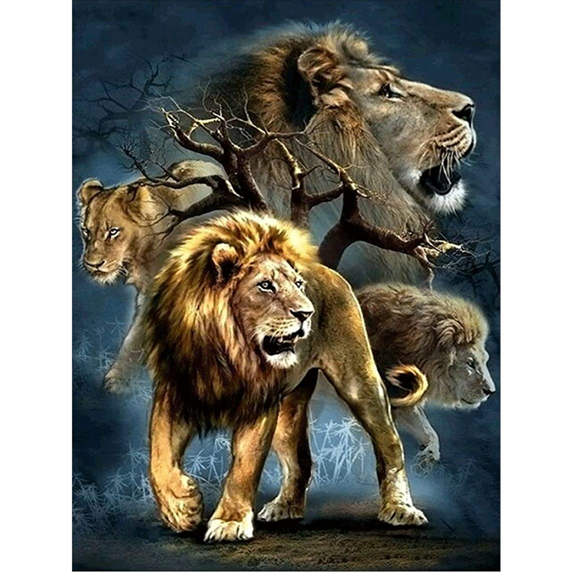 DIY Diamond Painting Kit Full Drill Crystal Lion King, Round Diamond Painting, DIY 5D Rhinestone Embroidery Cross Stitch Kits Supply Arts Craft Canvas Wall Decor Stickers Home Decor 12x16 inches