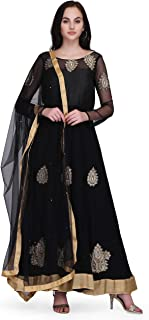 Pret A Porter Women's Georgette Traditional And Ethnic Wear Anarkali Suit With Dupatta
