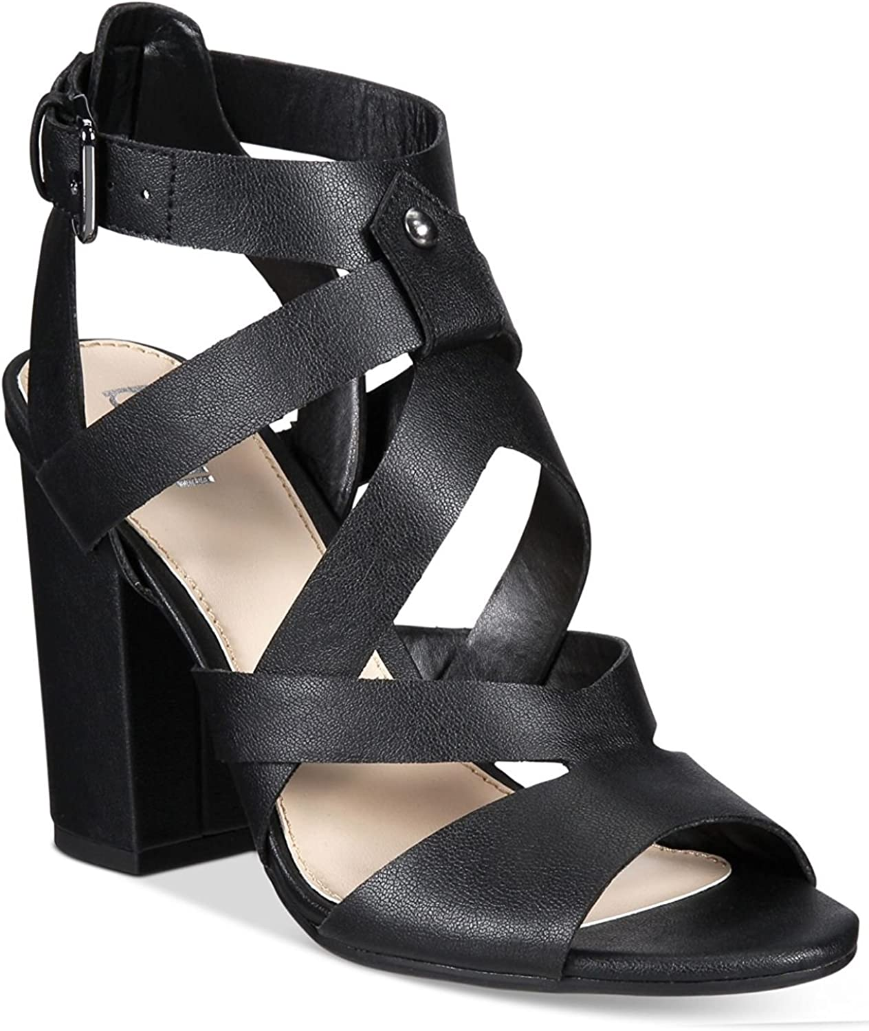 Bar III Womens Mae Peep Toe Casual Strappy Sandals, Black, Size 9.5