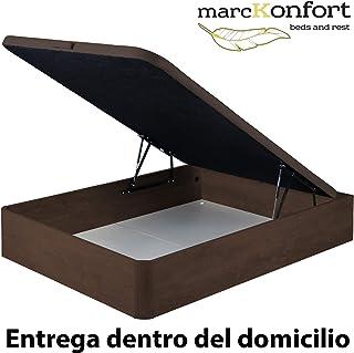 marckonfort Canapé abatible 160X200 de Gran Capacidad con Esquinas Redondeadas en Madera, Base tapizada 3D Transpirable Color Cerezo Oscuro