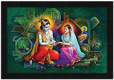 ARTAMORI Radhe Krishna Religious Vastu Painting with Synthetic Frame