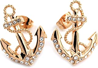 FC JORY White & Rose Gold Plated Crystal Diamante Anchor Women Earrings Studs