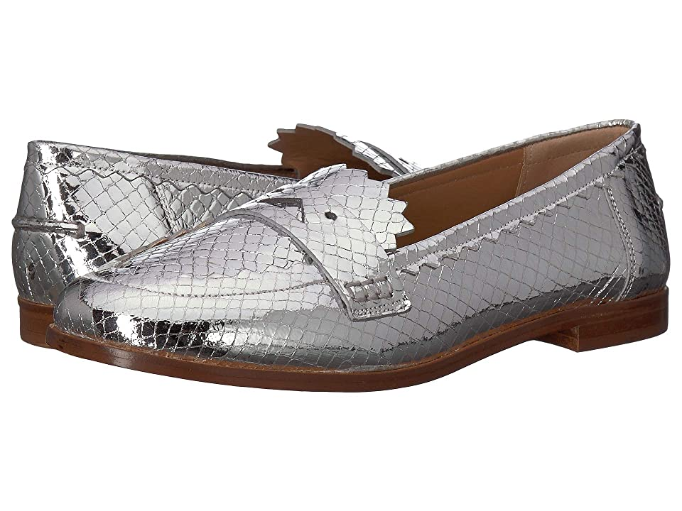 Emporio Armani Printed Metal Python Loafer (Silver) Women's Shoes